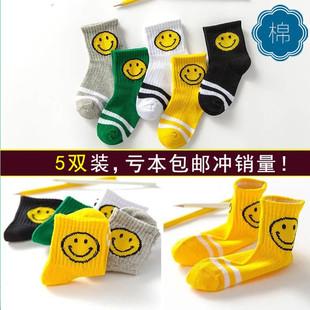 秋冬季5双装男女儿童袜子童袜宝宝袜防滑男童棉袜2-5-6-8-9-13岁
