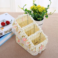 Lace Rose Rattan Storage Basket Mobile Cosmetics Storage Box Remote Control Basket Storage Basket Wicker