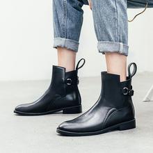 秋季低跟短筒马丁靴 英伦风女鞋 脚步一脚蹬粗跟短靴女2019新款图片