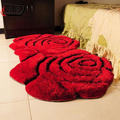 结婚喜庆幸福浪漫大红色 双玫瑰花 加厚加密亮丝 卧室床边地毯什么牌子好