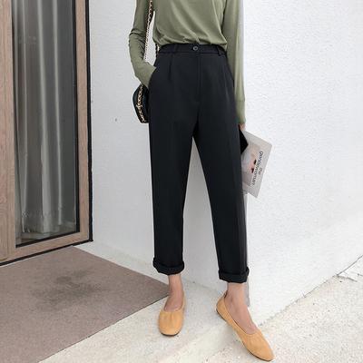 A7seven 黑色萝卜裤女秋季2018新款宽松显瘦百搭休闲哈伦裤烟管裤