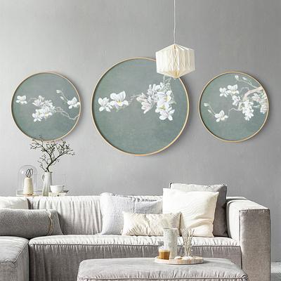 现代新中式客厅装饰画玉兰花挂画餐厅实木圆形框国画玄关书房壁画口碑如何