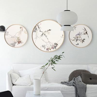 现代新中式中国花鸟画客厅沙发背景墙装饰画实木圆形框挂画壁画在哪买