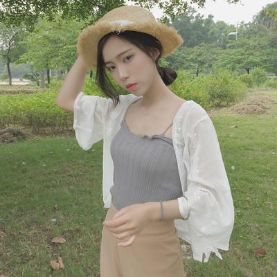 防晒衫女短款外套夏季开衫防晒衣外搭小披肩薄款雪纺衫仙女上衣