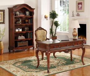 美式欧式实木雕花书柜隔断柜书桌书椅多层开放摆件柜现货工厂直销