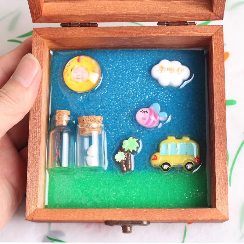 宝宝胎毛纪念品diy自制婴儿胎发纪念品制作收藏盒脐带创意材料包