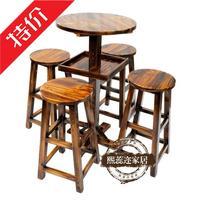 实木酒吧桌椅套件咖啡高脚桌椅铁艺酒吧桌椅组合木质吧台凳吧台椅