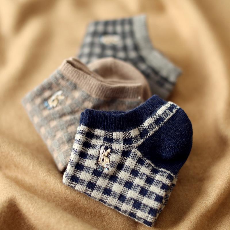 日系潮流百搭复古格子纯棉短袜子女士夏季韩版学院风低帮浅口船袜