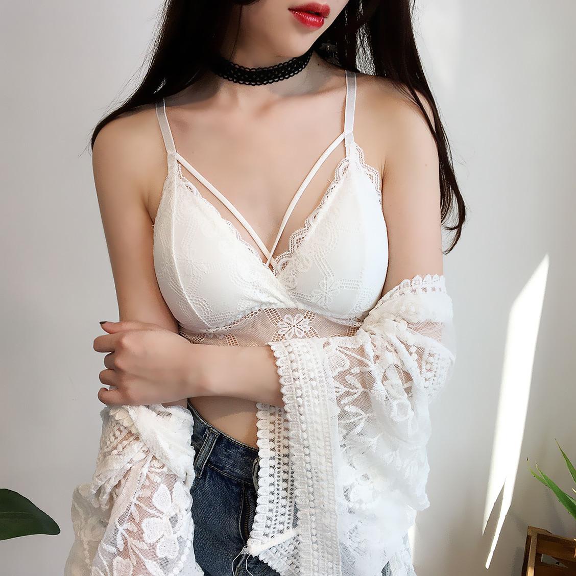 港味chic蕾丝裹胸抹胸带胸垫少女内衣性感短款打底小吊带背心上衣