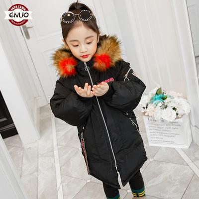 女童冬装棉衣2018新款儿童个性洋气连帽毛领棉服加厚中大童外套潮