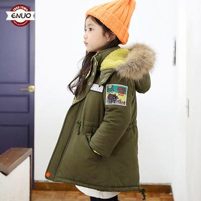童装女童冬装2018新款上衣羊羔毛棉衣小女孩中长款棉服外套加厚款