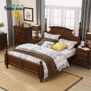 美式现代简约实木床主卧双人1.8米 简美床一米八的床一米五1.5床