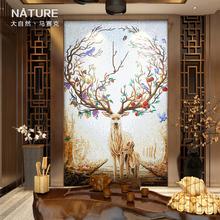 艺术玄关马赛克背景墙剪画拼花现代简约客厅欧式瓷砖玻璃墙贴麋鹿