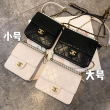 Rabbit Family Spring and Summer 2019 Small Fragrant Pearl Bag Explosive Big Cousin with Ling Ge Oblique New Chain Small Square Bag