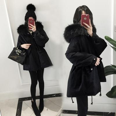 2017冬季新品女装中长款羽绒服宽松加厚超大毛领连帽黑色外套潮