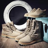 马丁靴男冬季高帮靴子潮雪地靴冬天军靴中帮男鞋加绒保暖沙漠棉靴