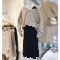 秋冬大码女装胖妹妹胖mm蕾丝拼接假两件毛衣高腰针织半身裙套装