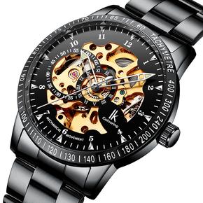 【送表带】阿帕奇IK双面镂空钢带全自动机械表男表防水男士手表