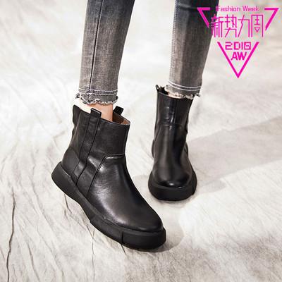宝迪美崎真皮复古女靴子2018秋冬新款中跟坡跟防水台短筒靴女