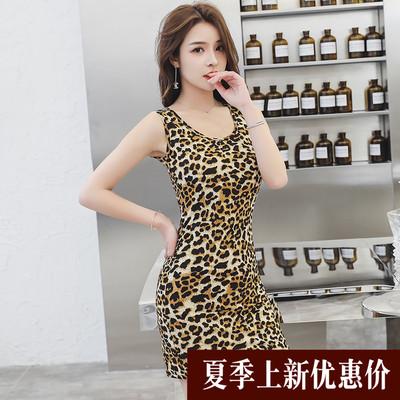 夏季性感豹纹背心连衣裙女士韩版中长款大码修身无袖圆领一步裙潮