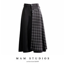 Port-flavor half-length skirt with retro Plaid stitching and detachable design Colour-bumping pocket, high waist and slim mid-skirt A-shaped skirt