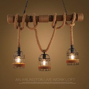 美式乡村工业风复古麻绳吧台长吊灯创意餐厅网咖酒吧服装店前台灯