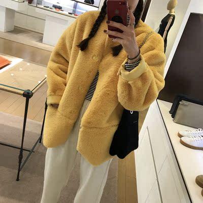 韩国东大门加厚保暖懒兔毛仿皮草外套2017冬装新款中长款毛绒大衣