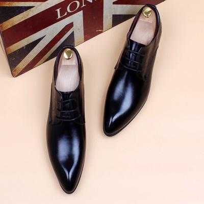 17新款男士尖头皮鞋韩版内增高亮皮潮男发型师漆皮鞋商务正装婚鞋