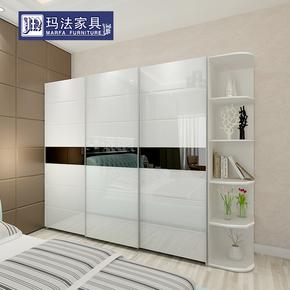 衣柜简约现代 3门整体移门烤漆衣橱卧室家具组合板式趟门