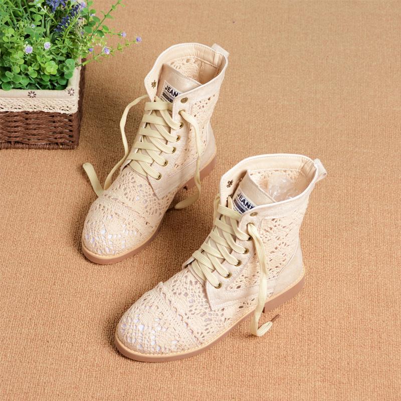 2018新款夏季镂空针织马丁靴平底系带圆头网靴欧美透气单靴女靴子