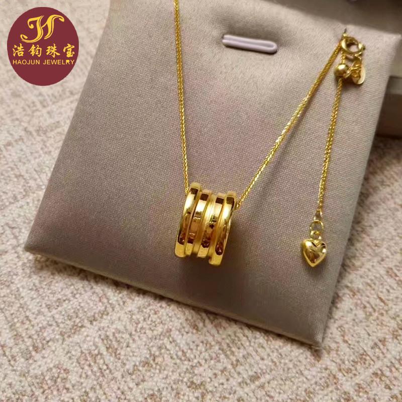 顺丰 3D硬金999足金转运珠黄金弹簧吊坠 男女款显大时尚项链挂坠