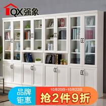 207F加厚多层板落地带玻璃门简约现代书橱25简欧防尘书柜书架