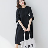 T-shirt skirt 2019 new loose long section casual over the knee black big t new t-shirt female Korean version of the large size women's clothing