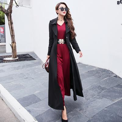 新款春秋季女装收腰韩版气质时尚修身显瘦休闲过膝长款风衣外套女