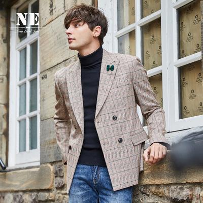 伯爵卓尔男格子西服18秋冬新品韩版撞色英伦风修身双排扣西服外套