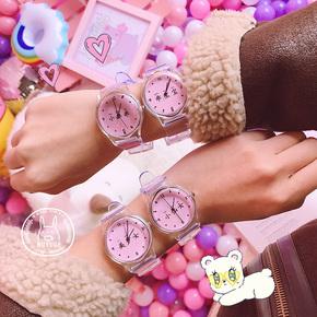 日系清新軟妹個性文字手表學生簡約透明表帶時尚圓形休閑手表女潮