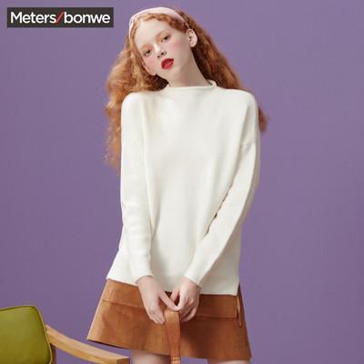 美特斯邦威开衩长袖毛衫女冬装新款柔软舒适时尚针织衫商场