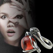 泰银S925纯银开口食指复古红色石榴石狐狸戒指女士招财防小人饰品