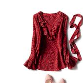 欧美外贸原单剪标18早春 重磅印花真丝 绑颈带 修身女荷叶长袖T恤