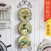 挂盘 陶瓷 美式田园小鸟挂盘欧式 翠鸟 墙面装饰 墙壁饰带挂架