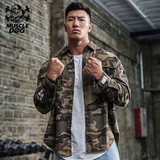 Muscle dog autumn and winter must enter the tide card loose camouflage sports casual shirt short thick jacket jacket man