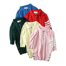 针织T恤女上衣 海军风四道杠拼色Polo衫 夏季女装 短袖 新款 姐姐优品