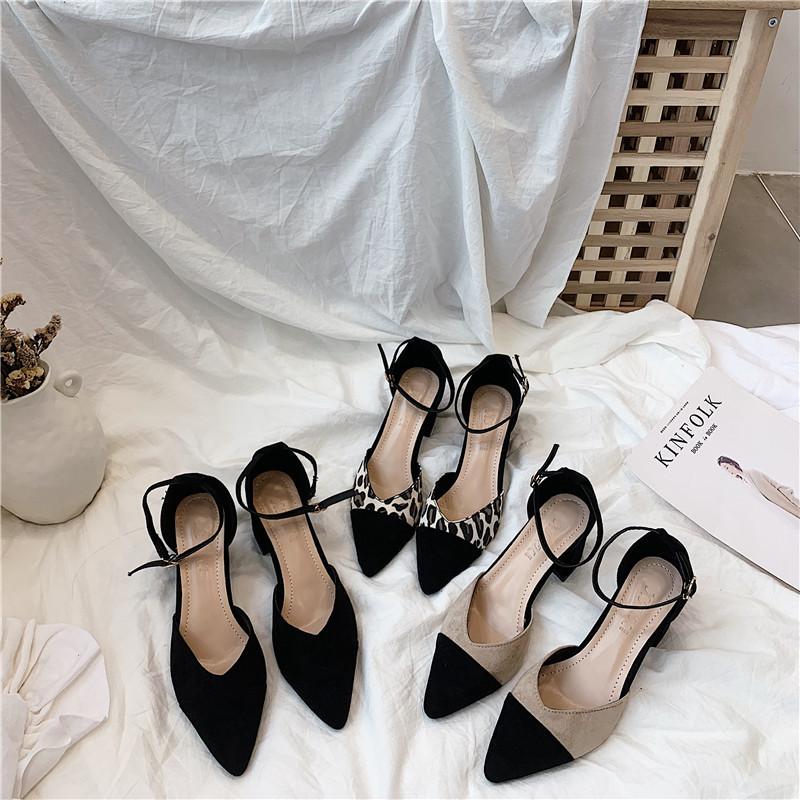 粗跟单鞋女2019新款高跟鞋女一字扣带中空鞋春季仙女浅口尖头女鞋