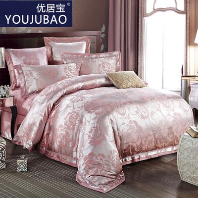 优居宝家纺贡缎提花四件套婚庆床上用品丝绵欧式被套床单秋冬新品