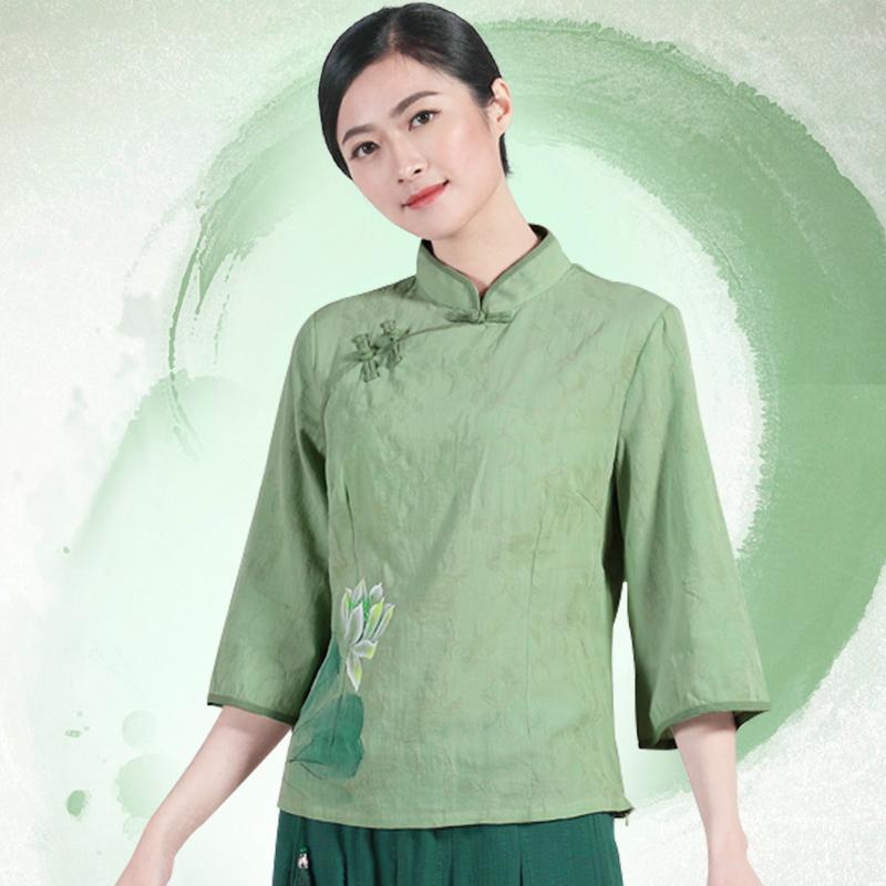 中式棉麻改良唐装上衣女中袖手绘中国风禅茶女装复古民国旗袍上衣