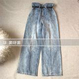 A batch of uncomplementary, cat west long-legged fan - flower denim trousers, washed blue high waist wide-legged pants