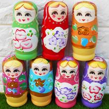 早教教具木制幼儿儿童生日礼物益智力实木5层彩色俄罗斯套娃玩具
