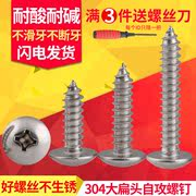 304 stainless steel large flat head self-tapping screws M3M4M5M6 cross mushroom head self-tapping screws wood screws