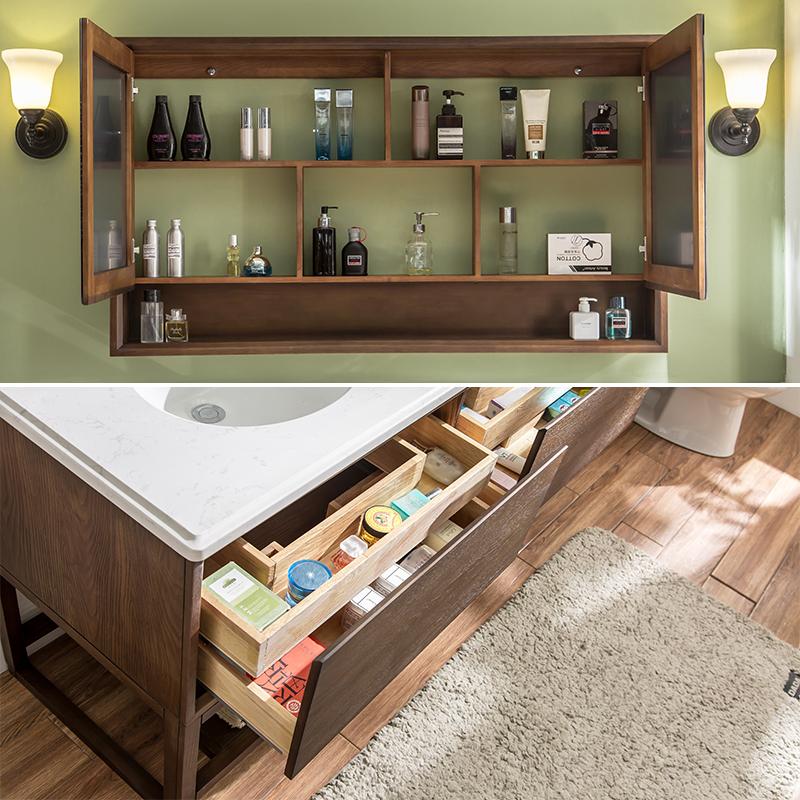美式浴室柜组合橡木落地北欧实木洗漱台卫生间洗手台面池洗脸盆柜