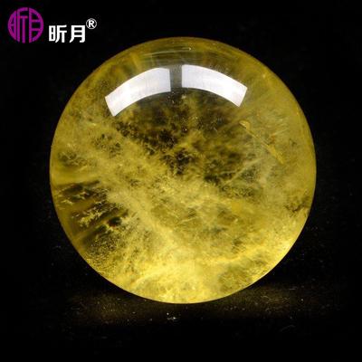 昕月仙庄正品开光天然巴西黄水晶球摆件多规格原石打磨财富之石